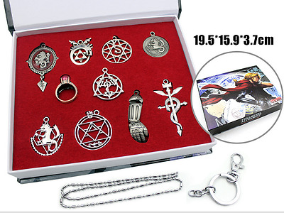 Fullmetal Alchemist Edward Elric Necklace Keychain Set Metal Pendant In Box New