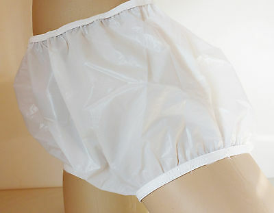 Ladies or Gents WHITE Opaque PVC Plastic Incontinence Pants Unisex   S - SMALL