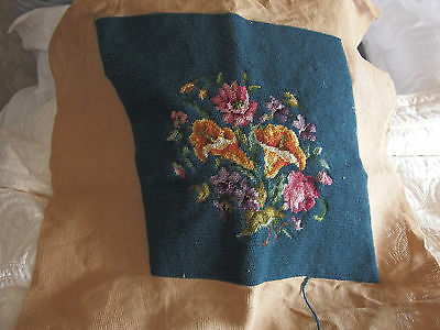 vintage Hand Stitched worked tapestry cushion front picture
