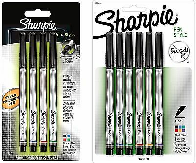 Sharpie Stylo Pen Ultra Fine Tip 0.3mm Fibre 4 6 Pack Black Red Blue Green