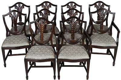 Set of Ten Antique Style Shield Back Dining Room Chairs Dark Wood Mahogany FS!