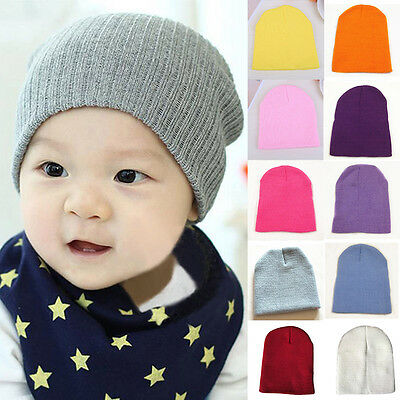 Kids Soft Cap Winter Warm Cozy Knitted Crochet Boys Girls Baby Cute Beanie Hat