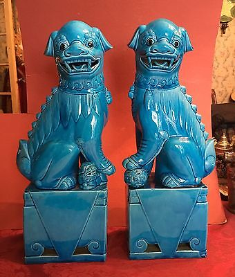 "Pair 16"" Turquoise Blue Vintage Foo Dog Dogs Chinese Porcelain"
