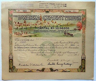 India DWARKA CEMENT 1921 litho illustrated share certificate wi Temples, etc zaz