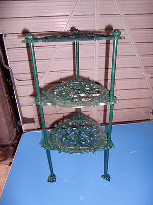 Green Three Tiered Wrought Iron Stand