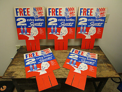 LOT OF 5 1959 SQUIRT Soda Squirt Boy NOS Cardboard Sign Display