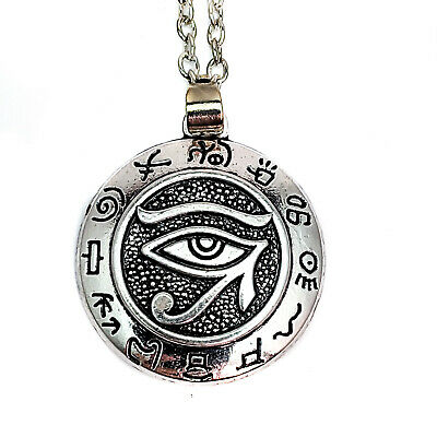 Antique Silver Tone Eye Of Ra Pendant Necklace
