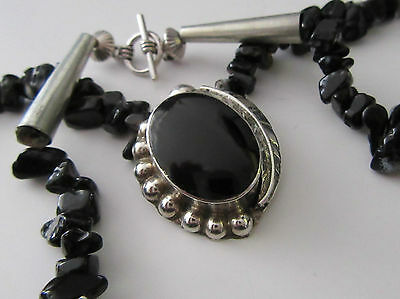 A Taxco Mexican Silver Pendant Necklace Turquoise Obsidian & Onyx Maker Tc - 25