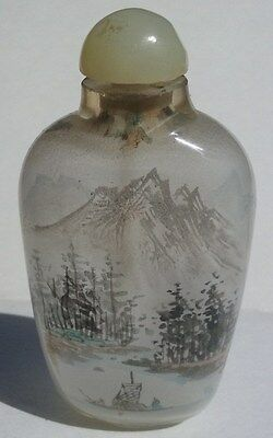 Chinese snuff bottle reverse inside painted glass landscape