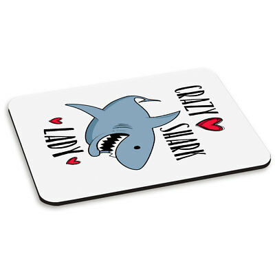 Crazy Shark Lady PC Computer Mouse Mat Pad - Funny Cute