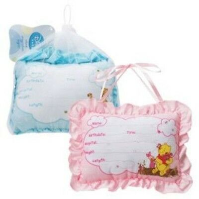 NIP Winnie The Pooh Birth Announcement Door Pillow With Pen in Blue Baby Boy