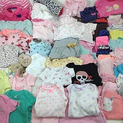 NEWBORN Baby Girl Clothes HUGE Lot of 89  Pre Owned Infant Pants Body Suits PJs
