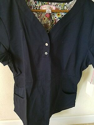 BRAND NEW Womans KOI Scrub Top, Justine, Navy Blue, Size Large