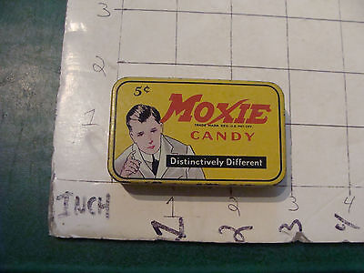 early MOXIE CANDY metal tin, Original , distinctively different, 5cent COOL