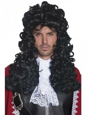 Adult Pirate Captain Wig Mens Hook Long Black Fancy Dress Accessory