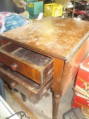 Antique 19th c. Walnut Drop Leaf 2 Drawer Lamp End Table