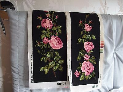 vintage Pair of Hand Stitched worked French tapestry