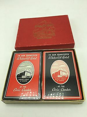 The Whitcomb Hotel Playing Cards Vintage NOS 2 Decks San Francisco Tax Stamp