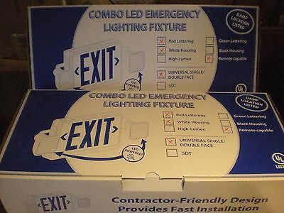 (3)  Combo LED Emergency Exit Sign/Fixture Combo Sets Remote Capable - #6001