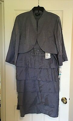 NWT R&M Richards 'Periwinkle' Short Mother of Bride Dress with Jacket Size 20W