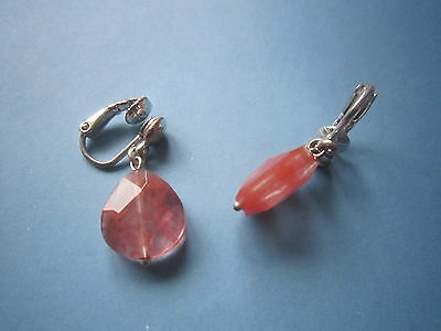 Clip On Earrings - Pink Crystal / Silver Mount - Drop Style