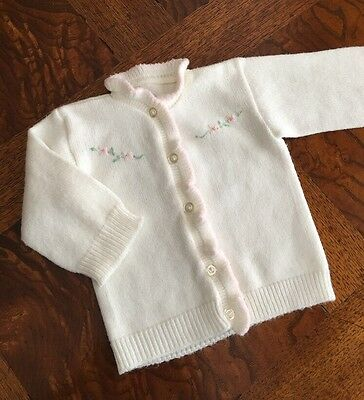 Sweet ~ Vintage Acrylic Baby Toddler Girls Cardigan Sweater Embroidered Flowers