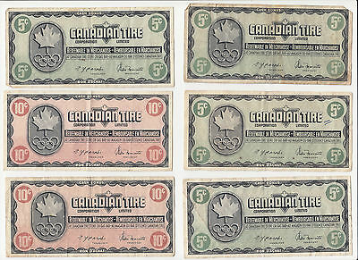"""Vintage Commemorative Olympic Canadian Tire Coupons """"Money"""" - $1.90 face"""