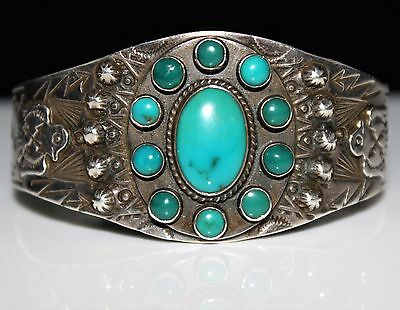 Intricate Fred Harvey Era Turquoise Cluster Thunderbird Cuff Bracelet, Sterling