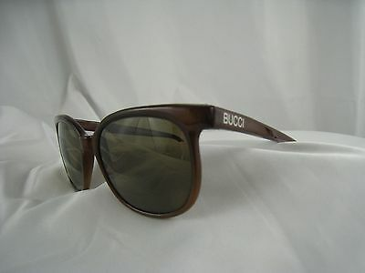 "Vintage 1980s Bucci ""Young Cat"" Walnut Brown Sunglasses Frames from France 135mm"