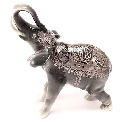 Vintage Porcelain Elephant Figurine With Tusks And Ornate Silver Overlay Germany