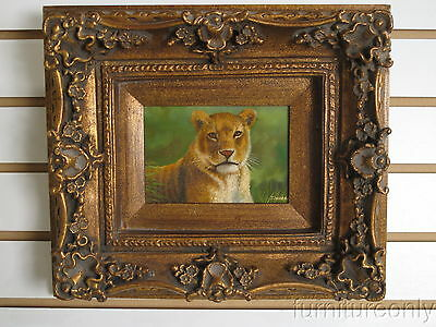 F35091: Antique Gold Framed Oil Painting on Board Female Lion