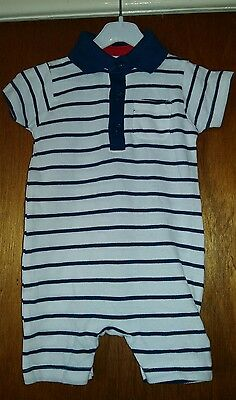 BNWT Boys Short Polo Stripe Romper Playsuit Mothercare 3-6 Months SPRING SUMMER