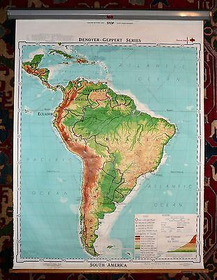 Vintage 1968 Denoyer-Geppert Series 45X60 Pull Down School Map SOUTH AMERICA