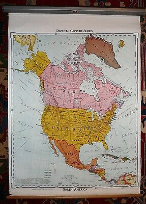 Vintage 1961 Denoyer-Geppert Series 45X60 Pull Down Map POLITICAL NORTH AMERICA
