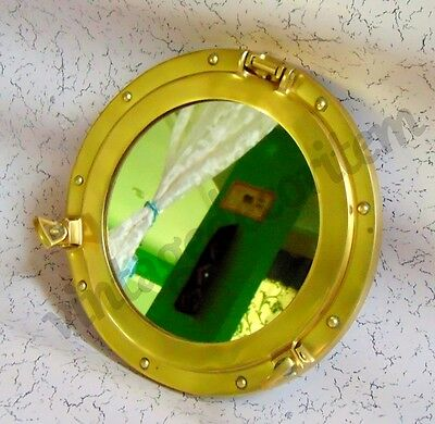 "12"" Brass Porthole Port Window Ship Boat Port Hole Round with GLASS Wall Decor"