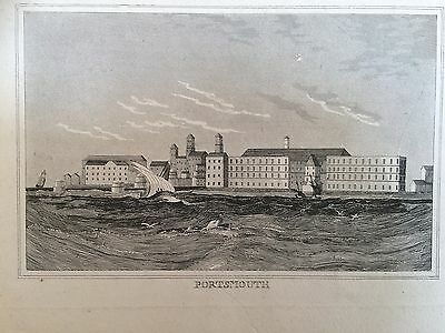 c.1830 Antique Print of Portsmouth, Hampshire