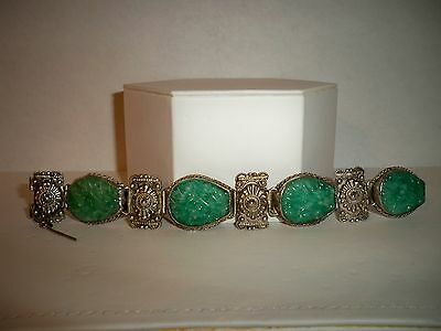 Antique Chinese Silver & Carved Jade Jadite Panel Bracelet