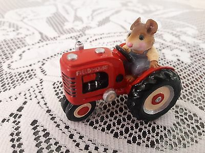 Wee Forest Folk M-133 FIELD MOUSE with RED TRACTOR  Retired/Mint/Box