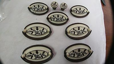 9 French Provincial  Two Toned Drawer Pulls and knobs - NICE and Unususal