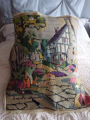 vintage Hand Stitched tapestry cushion front picture Country House 1930s