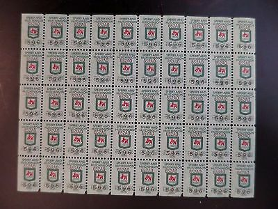 Vintage Full Sheet of 50 Sperry & Hutchinson S&H Green Stamps Mint NH