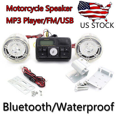 FM Radio MP3 Stereo Audio Sound Speaker System Bluetooth For ATV Bike Motorcycle