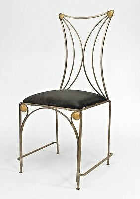 French Art Deco Style Steel and Brass Trimmed Side Chairs (PRICED EACH)