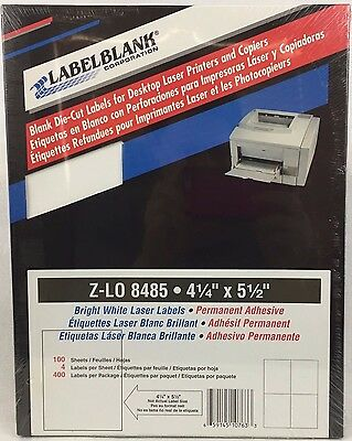 "400 Laser Labels 4 1/4"" X 5 1/2"" Bright White Printer Copier 100 Sheets"
