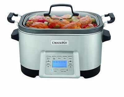 Crock-Pot 6-Quart 5-in-1 Multi-Cooker with Non-Stick Inner Pot, Stainless Steel,