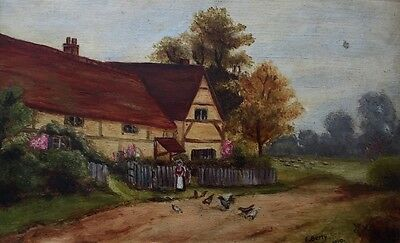 E Berry 1910 Lowland Landscape Signed Oil Painting On Board In Frame