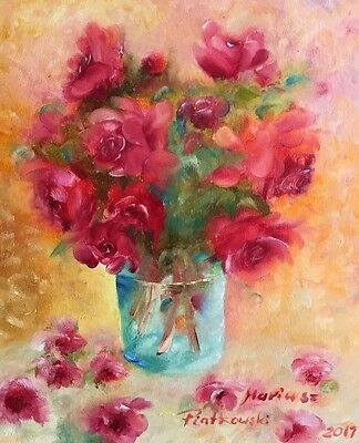 Red Roses In A Vase, Signed Oil Painting On Canvas