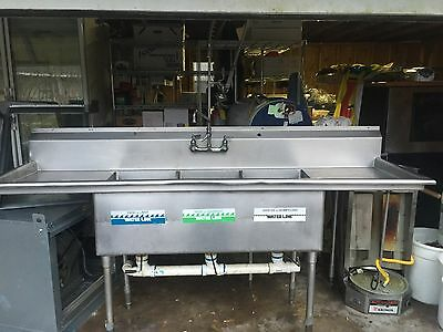 3 compartment sink commercial stainless Steele