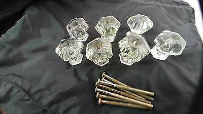 7 glass knobs for drawer or door pulls hardware approximately 1 1/2""