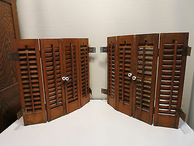 2-Pair Antique Window Wood Louvered Shutters Shabby Old!